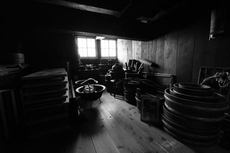 Shirakawa-go Barrel Black And White Indoors  No People Storage Wood - Material Wooden Tools