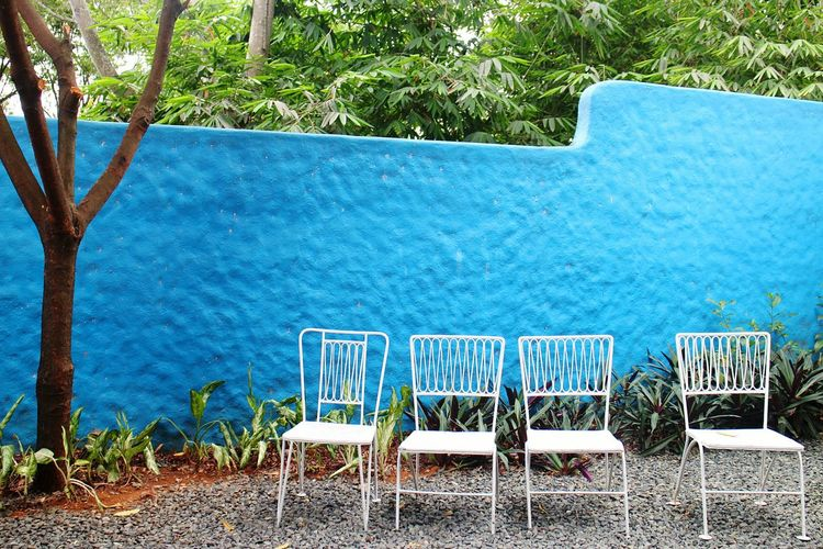 Chair Day Outdoors Tree No People Blue Nature Blue Wall Empty Chairs Chairs Outside