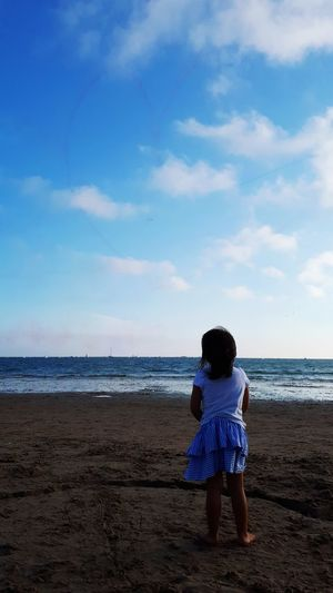 Water Sea Child Full Length Beach Wave Sand Childhood Blue Rear View Tranquil Scene Calm Ocean Horizon Over Water