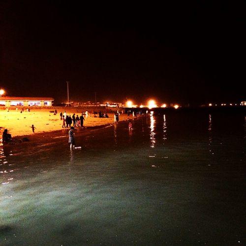 Sea Ocean Beach Dark Night Lights Chabahar Iran دريا ساحل #شب #چابهار #ايران