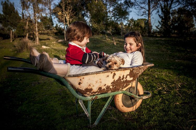 Siblings with dog sitting in wheelbarrow