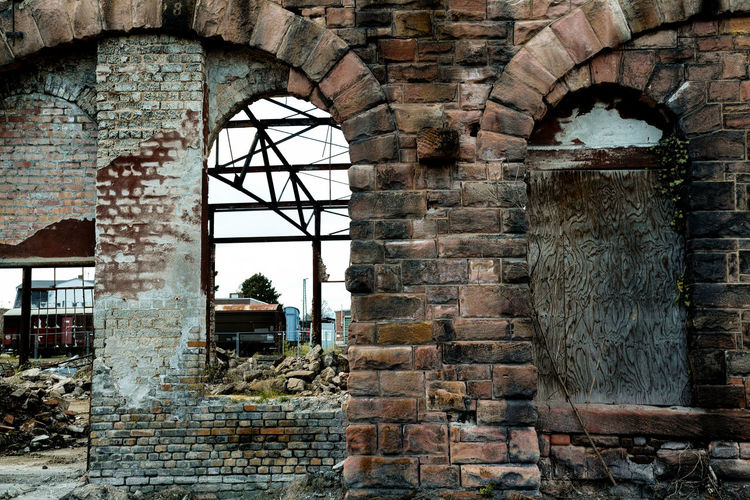 Abandoned Enginehouse Aando Abandoned Abandoned Buildings Abandoned Enginehouse Arch Architecture Brick Wall Building Built Structure Day Deterioration Enginehouse Historic History No People Old Run-down Sky Stone Wall The Past Wall