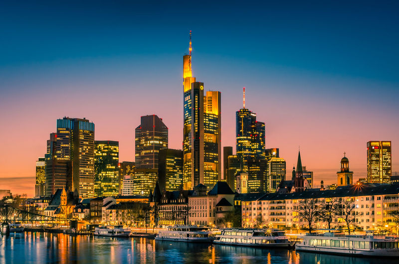 Mainhattan in Red The downtown district of Frankfurt is also called Mainhattan. Afterglow Architecture Building Exterior Built Structure City City Life Cityscape Downtown District Financial District  Illuminated Mainhattan Modern No People Outdoors River Sky Skyscraper Sunset Tall Tall - High Tower Travel Destinations Urban Skyline Water Waterfront