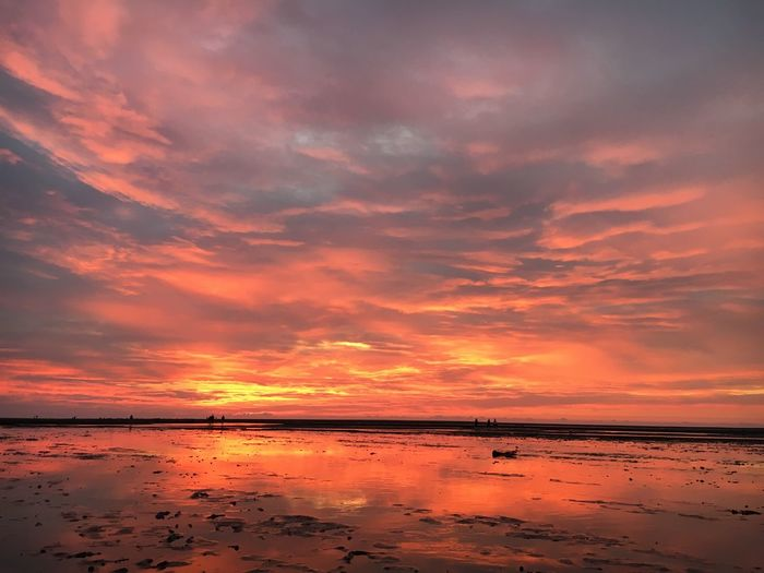 The world is on fire 🔥 Beauty In Nature Scenics Sky Water Nature Orange Color Tranquility Cloud - Sky Dramatic Sky Tranquil Scene Reflection Sea Beach Idyllic Outdoors No People Horizon Over Water Wetland Gaomei Wetland Taichung Taiwan