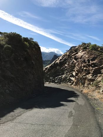 Gran Canaria Road Curve Mountain Day Shadow Sunlight Sky Tranquil Scene Nature Road No People Tranquility Beauty In Nature Mountain Range Scenics Outdoors