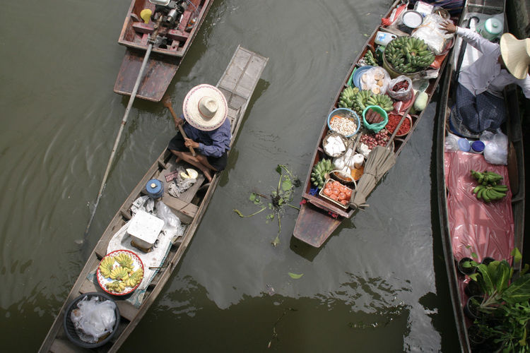 High angle view of garbage in river