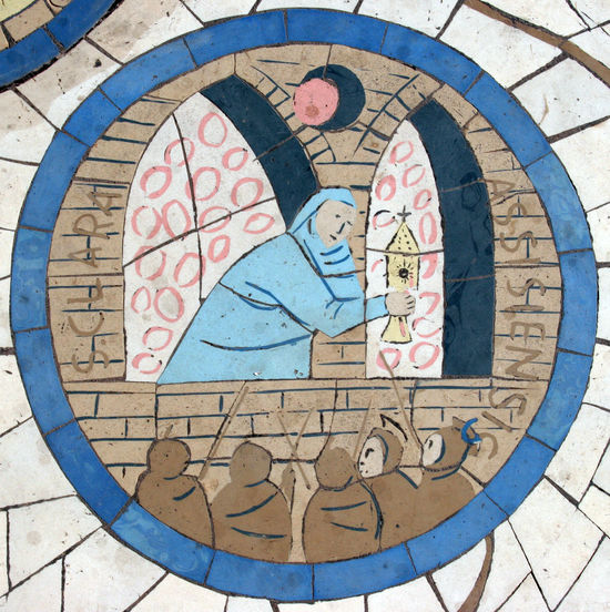 Saint Clare of Assisi, Mosaic in front of the church on the Mount of Beatitudes, Israel Assisi Beatitudes Belief Biblical  Christianity Church Clare Clare Of Assisi Galilee Historical Holy Israel Jesus Middle East Mosaic Mount Religion Religious  Saint Sermon Shrine Spiritual Stone