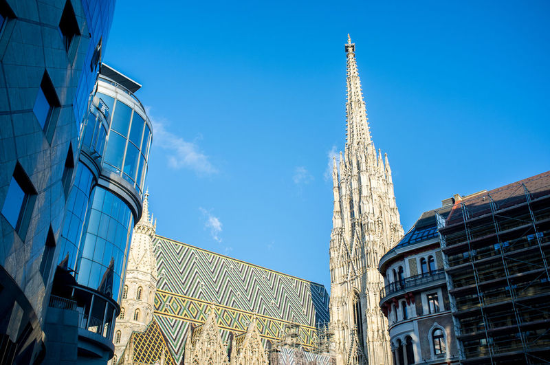 Building Exterior Architecture Built Structure Building Sky Low Angle View City Tower Travel Destinations Day Tourism No People Travel Belief Religion Place Of Worship Spirituality Skyscraper Financial District  Vienna Stephansdom Stephansplatz Wien