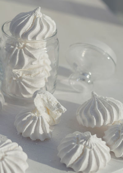 Close-Up Of White Dessert On Table