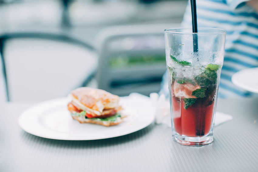 Breakfast Lunch Time! Break Break Time Cafe Cafe Time Close-up Drink Drinking Glass Food Food And Drink Freshness Healthy Eating Mint Leaf - Culinary Plate Ready-to-eat Refreshment Serving Size Summer Table