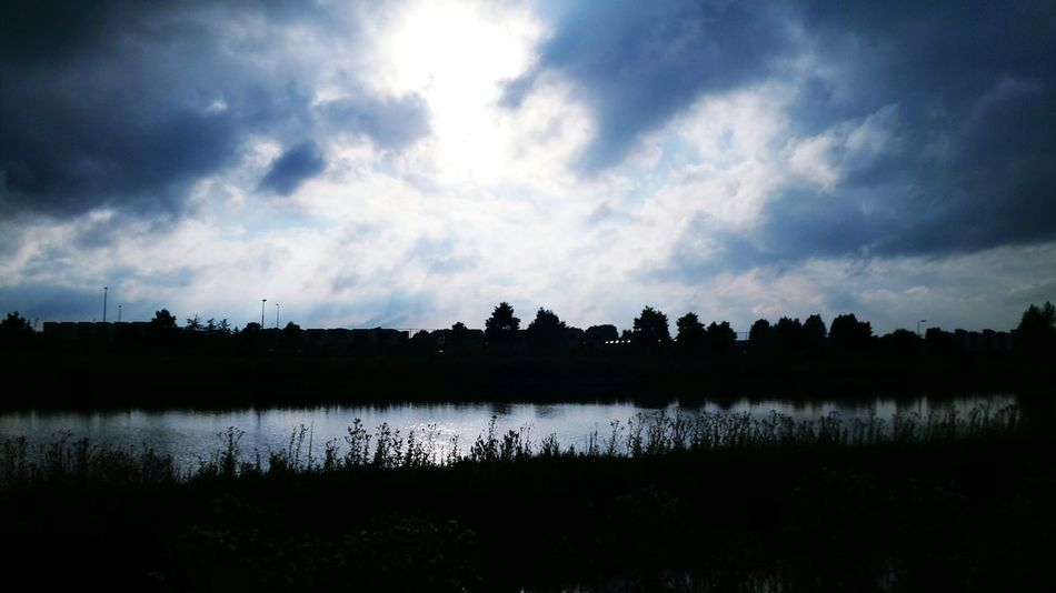 Walking Around Nature On Your Doorstep Maximakanaal Sunset Silhouettes Dutch Clouds Samsung Galaxy S5