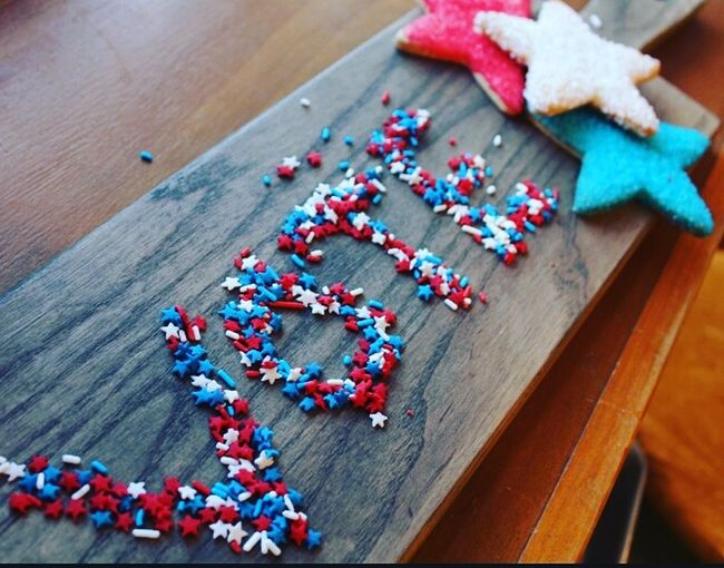 High Angle View Patriotic Sprinkles Vote! Voting Election Cookie Table No People