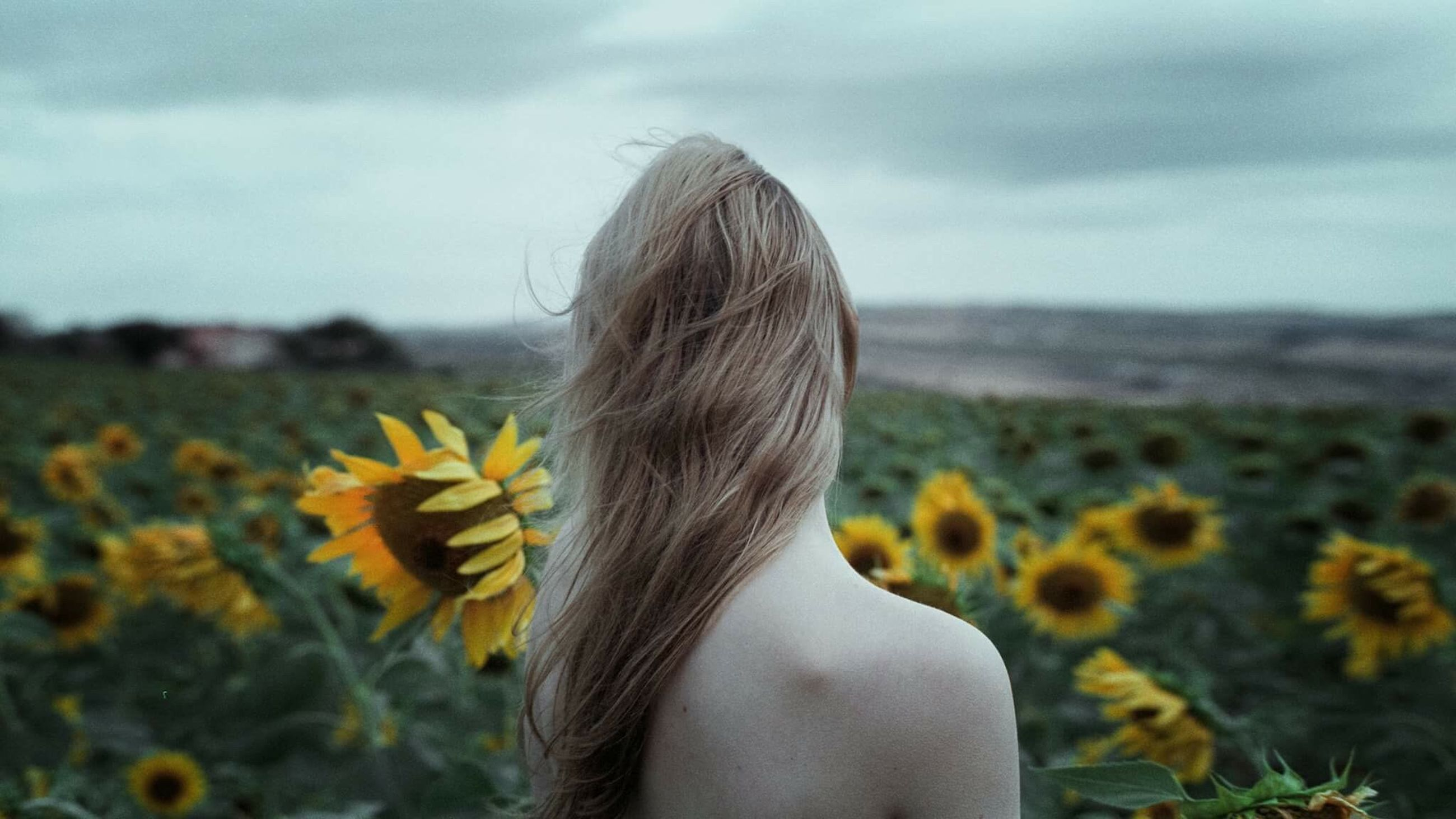 flower, yellow, person, focus on foreground, rear view, waist up, leisure activity, beauty in nature, sunflower, sky, long hair, tranquility, field, growth, nature, freshness, casual clothing, tranquil scene, scenics, mountain, cloud - sky, day, vibrant color, fragility