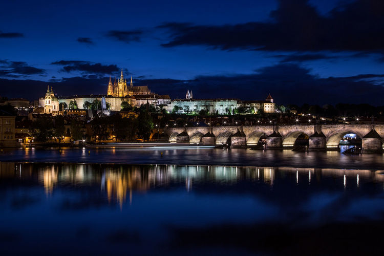 Architecture Blue Building Exterior Built Structure City City Cloud - Sky Czechoslovakia History Illuminated Nature Night No People Outdoors Place Of Worship Prague Reflection Religion Sky Spirituality Travel Destinations Tree Tschechien Tschechischen Republik Water
