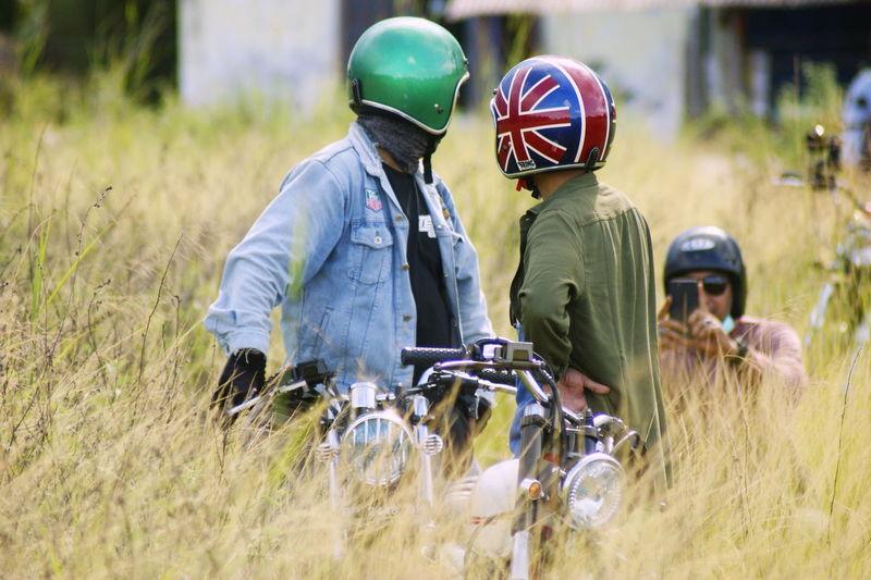 Rider Rider HelmetArt Custom Bikes Motor Vehicle Classic Style Classic Elegance Honda Motorcycle Headwear Camouflage Clothing Teamwork Child Helmet Boys Protective Workwear Grass