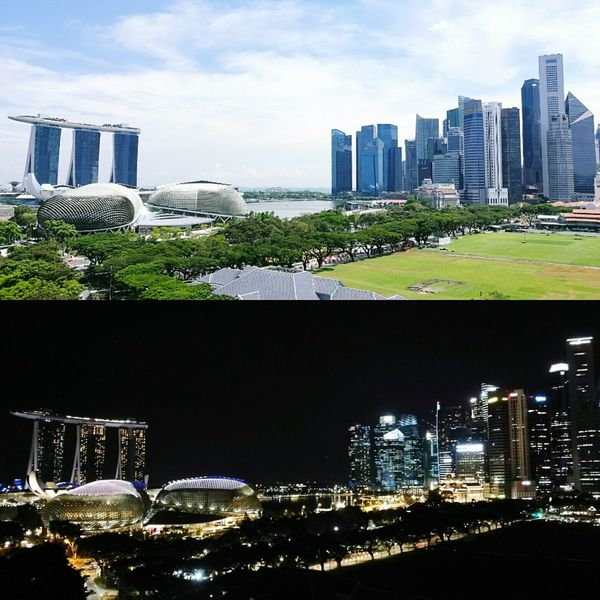 Skyscraper City Life Travel Destinations Singapore View Day And Night