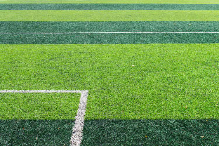 white goal line of soccer on green artificial grass background. Field Football Grass Natural Nature Artificial Grass Corner Corners Fields Football Field Goal Line Goal Lines Soccer Soccer Field Sport Sports