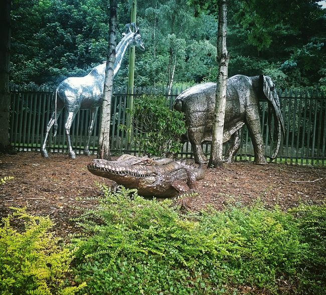 Day Outdoors Green Color No People Grass Tree Nature Metallic Artistic Photo Crocodile Alligator Giraffe Elephant Metal Animals Metal V Nature Unusual Oddity Shiney Contrast Light Silver - Metal Bronze Bronze Sculpture Silver