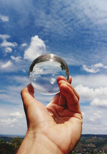 Lensball Finger Human Hand Holding Men Sky Close-up Cloud - Sky Crystal Ball Crystal Sphere Crystal Glassware Bauble Marbles Personal Perspective Handful The Creative - 2018 EyeEm Awards EyeEmNewHere
