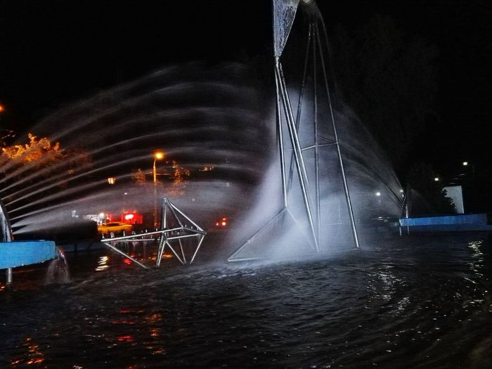 Water Night Illuminated No People Nightlife Outdoors Foutain Sculpture Giurgiu