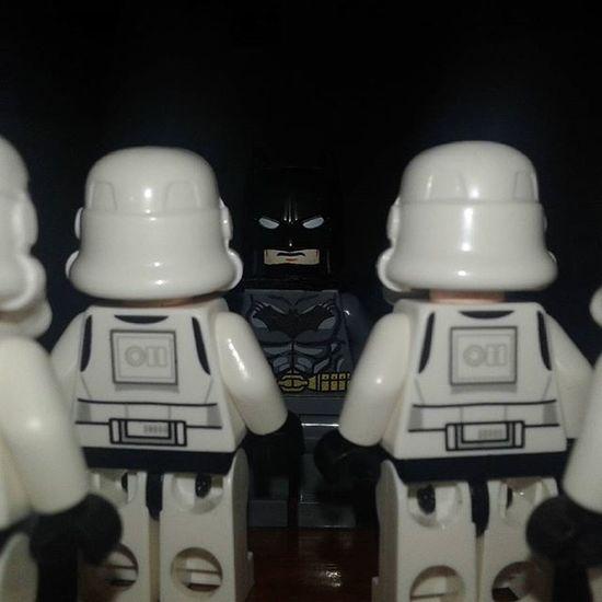 Trooper A : Who Are You ? Batman : I am Batman . . . . Batman Brucewayne Dccomics Starwars Stormtrooper Minifigures LEGO Legominifigures Legostarwars LegoSuperheroes Legophotography Instalego Instatoys Toyslagram Legos