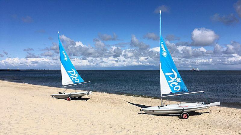 Beach Sailing Boat Trailer Blue Sky Sand & Sea Sunny Day Sylt