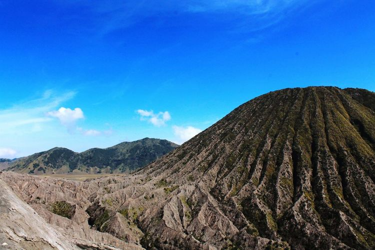 Low Angle View Of Mt Bromo Against Blue Sky
