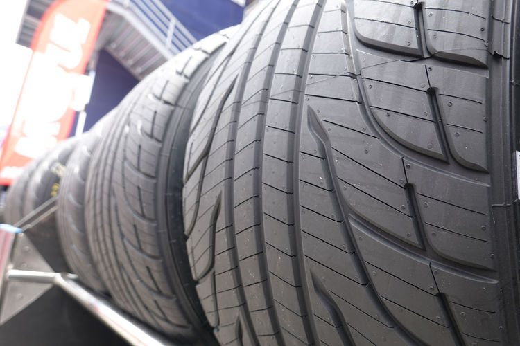 Close-up of tire track in market