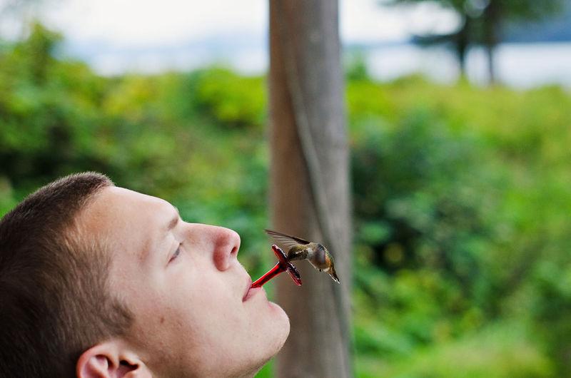 Close-Up Of Man With Bird