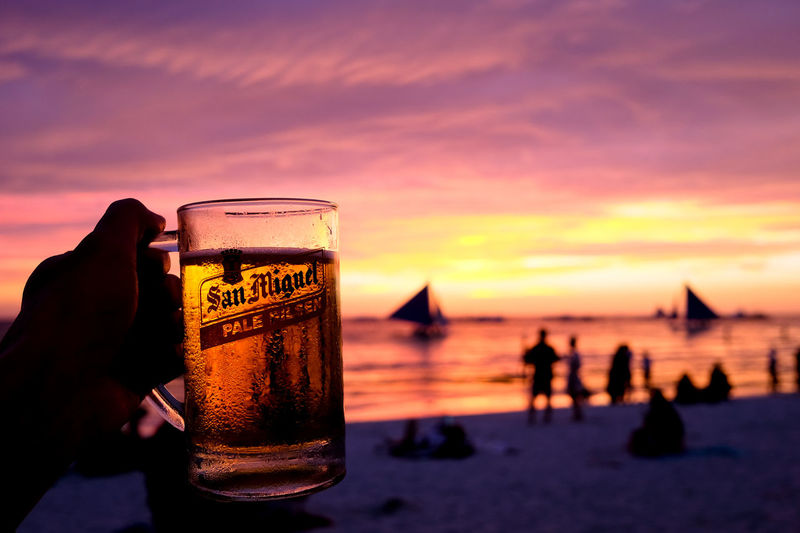 Architecture Beautiful Beer Dinner Fashion Freshness Holiday Philippines Relaxing Travel Vacations Alcohol Amazing Awesome Beach Beauty In Nature Boracay Drink Fantastic Outdoors Photography Sanmiguel Sea Sky Sunset