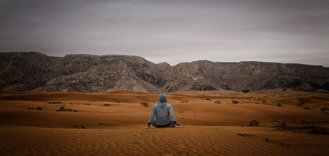Seeking solitude in desert Best Edits  EyeEm Best Shots EyeEm Gallery Showcase April UAE Arid Climate Desert Landscape Maliha Nature One Person Real People Rear View Sand Dune Silence Solitude Tranquil Scene Tranquility Paint The Town Yellow Connected By Travel Lost In The Landscape Second Acts