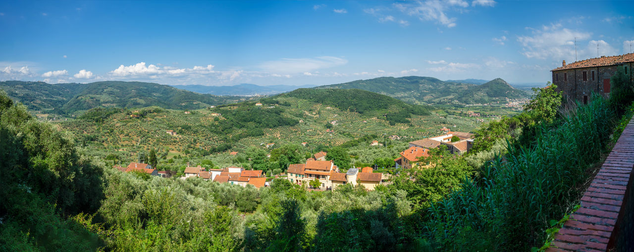 Panoramic view from San Gimignano, Italy, Tuscany Panorama San Gimignano Tuscany Architecture Beauty In Nature Building Building Exterior Built Structure Cloud - Sky Environment House Italy Land Landscape Mountain Mountain Range Nature No People Outdoors Plant Residential District Rural Scene Scenics - Nature Sky Tree