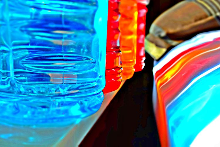 Quench Your Thirst Abstract Blue Close-up Colorful Colorfull In A Row Multi Colored Orange Red Reflection Selective Focus Shadow Sports Drink Sports Drinks Sunlight Powerade