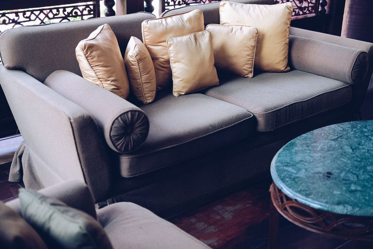 High angle view of sofa at home