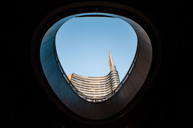 Unicredit Tower Sky Architecture Built Structure Clear Sky Geometric Shape Shape Day No People Office Building Exterior Skyscraper Directly Below Design Glass - Material Building Low Angle View Milan Gae Aulenti Square