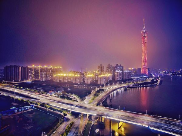 小蛮腰,猎德桥 Aerial Shot Night Lights Bridge Canton Tower Building Night Dji Check This Out Zhujiang New Town Guangzhou China