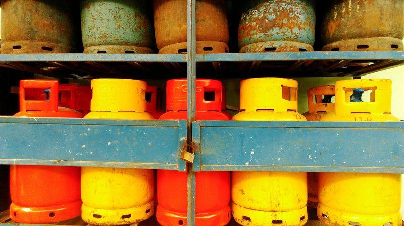 Gas Bottle Oldbottles Colours Vintage