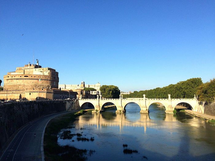 Ponte sisto bridge over tiber river against clear sky