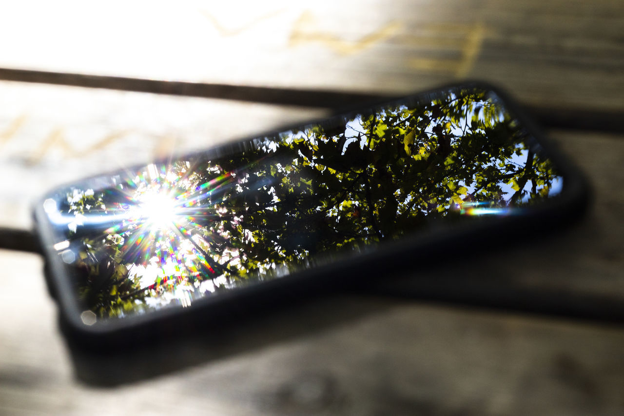 close-up, selective focus, no people, plant, nature, reflection, outdoors, day, lens flare, sunlight, plant part, leaf, land vehicle, beauty in nature, growth, wood - material, table, green color, motor vehicle