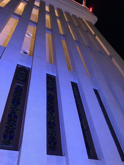 Architectural Feature Architecture Blue Building Building Exterior Built Structure City Communication Dusk Government Illuminated Low Angle View Nature Night No People Outdoors Purple Sky Tall - High Window