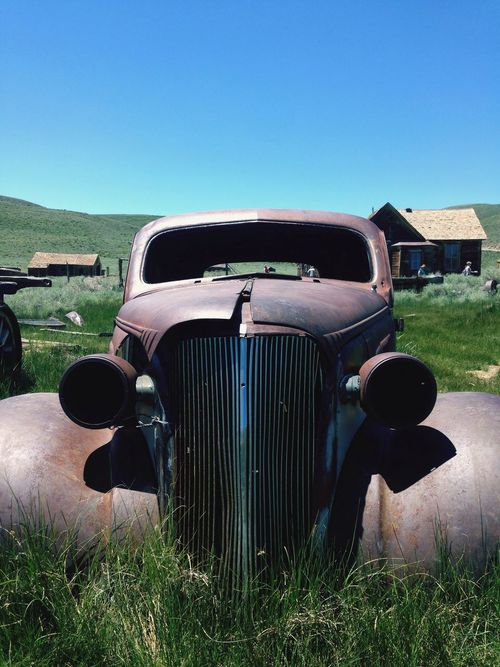 Outdoors Blue Grass Old-fashioned Car Field abandoned
