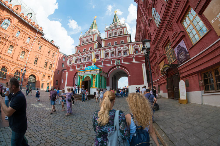 Arch Architecture Building Exterior Built Structure City City Life Cobblestone Crowd Culture Day Entrance Façade Famous Place History In Front Of International Landmark Large Group Of People Outdoors Person Sky Tourism Tourist Travel Travel Destinations Vacations