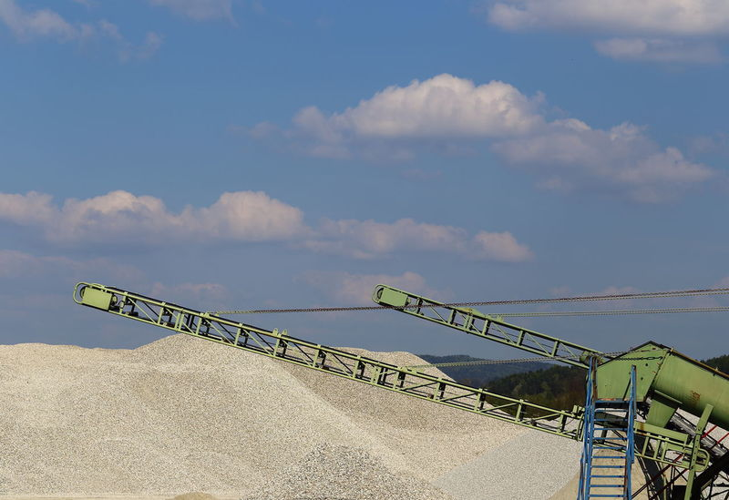 Details of a gravel plant. Bavaria, Germany. Blue Two Is Better Than One Cloud - Sky Conveyor Belt Diagonal Exploitation Gravel Gravel Plant Gravel Quarry Industrial Industrial Beauty Industrial Design Industrial Photography Lines Lines And Shapes Metallic Still Life Minimalism Fine Art Photography Nature Outdoors Pastel Pastel Power Sky Copy Space