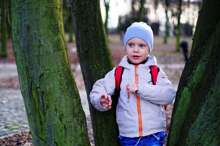 Boy standing amidst tree trunks at forest