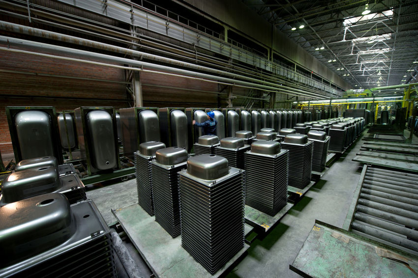 Russia, Yekaterinburg, Upper Iset plant of metal shells. Bath Abundance Arrangement Day Empty Illuminated In A Row Modern No People Repetition Russia, Yekaterinburg, Upper Iset Plant Of Metal Shells. Bath Side By Side