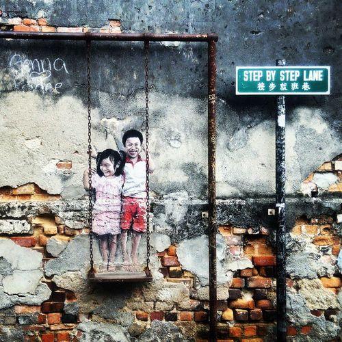 Jalan jalan mau pergi kelas, singgah sebentar mengambil gambar seni jalanan sekitar Georgetown. Penang Georgetown Streetarts