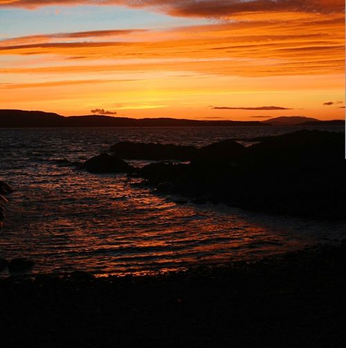 Sunset Orange Color Sea Outdoors Beach Red Landscape Beauty In Nature Horizon Over Water Scenics Sand Nature Beauty Scotland Amateurphotography Canonphotography Nightshot Sky Silhouette Illuminated Reflection Waves