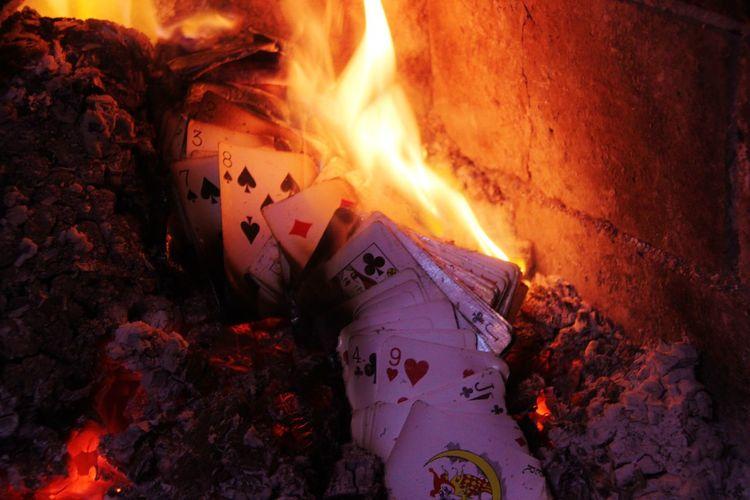Bonfire Burning Close-up Dark Flame Glowing Heat - Temperature Illuminated Nature No People Orange Color Spooky Sunbeam