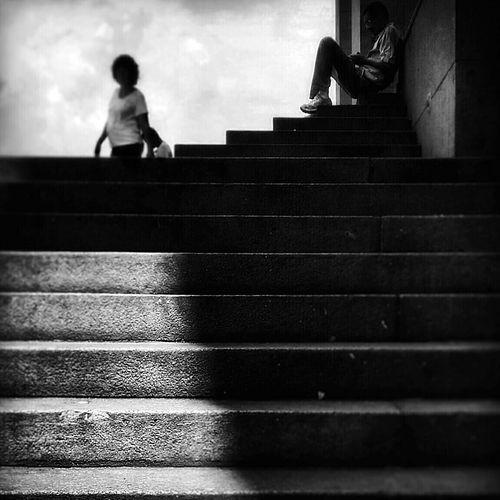Streetphotography Saopaulo Light And Shadow Silhouette Chasinglight Streetphoto_bw Black & White B&w Street Photography Fineart Stairway Solitude Street EyeEm Best Shots - Black + White Monochrome