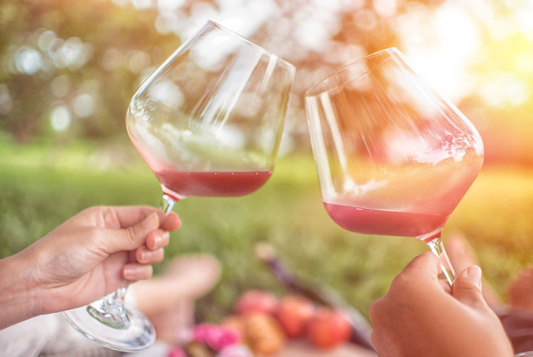 Adult Alcohol Body Part Celebration Celebratory Toast Close-up Drink Finger Focus On Foreground Food And Drink Glass Hand Holding Human Body Part Human Hand Lifestyles Outdoors People Red Wine Refreshment Two People Wine Wineglass Women